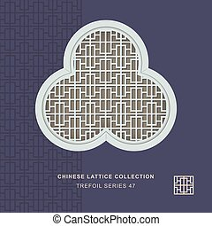 Chinese window tracery trefoil frame of rectangle line
