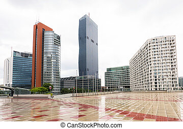 View on financial district with tall buildings and business...
