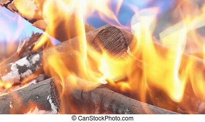 Burning wood and coal in fire wood for barbecue charcoal