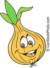 Fresh onion bulb cartoon - Cheerful fresh onion bulb cartoon...