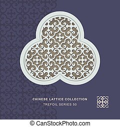 Chinese window tracery trefoil frame of cross spiral