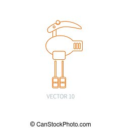 Line flat vector kitchenware icons - mixer. Cutlery tools. Cartoon style. Illustration and element for your design. Equipment for food preparation. Kitchen. Household. Cooking. Cook. Blender.