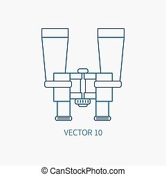 Line flat vector blue marine icon with nautical design elements - binoculars. Cartoon style. Illustration and element for your design. Sea adventures. Ocean. Naval. Navigation. Maritime. Vintage.