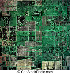 Geometric abstract grunge weathered background of vintage texture. With different color patterns: gray; green; black