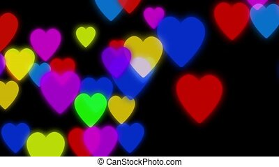 Hearts background animation. Colorful hearts slowly falling down on a dark background with particles flowing around