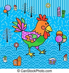 Rooster in style boho