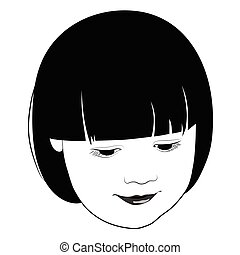 The head of a little girl looking down - vector illustration