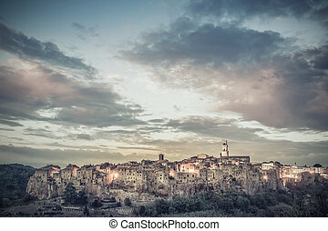 Vintage Landscape with Pitigliano