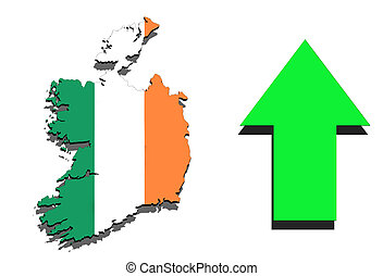 Ireland map on white background and green arrow up
