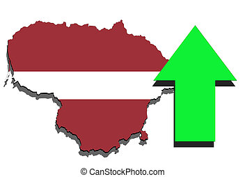 Lithuania map on white background and green arrow up