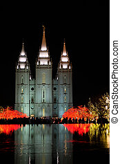 Temple Square Salt Lake City Utah with Christmas Lights