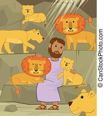 Daniel With Lions - Cute illustration of Daniel in the lions...