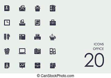 Set of office icons - office vector set of modern simple...
