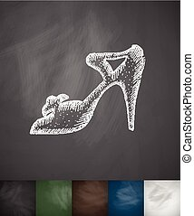 women's shoes icon. Hand drawn vector illustration....