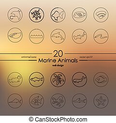 Set of marine animals icons - marine animals modern icons...