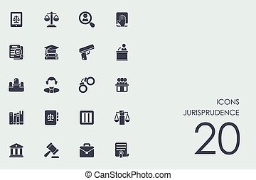 Set of jurisprudence icons - jurisprudence vector set of...
