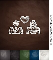 lovers icon. Hand drawn vector illustration. Chalkboard...