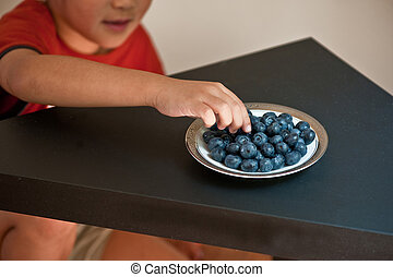 Blue berries - A small boy enjoying fresh blue berries from...