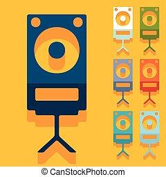 Flat design: large audio speaker
