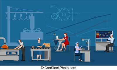 Factory working video animation footage - Factory working...