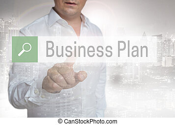 Businessplan Browser touchscreen is operated by man.