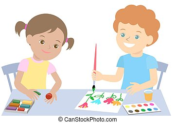 Small children draw paint and mold from plasticine. Vector...