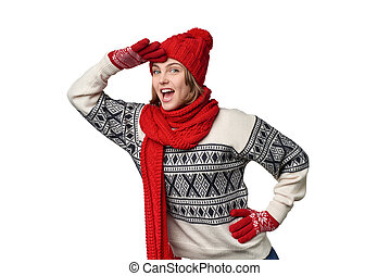 Surprised winter woman looking forward - Happy excited...