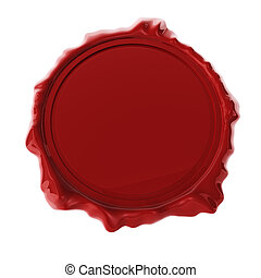 Red wax seal isolated on white 3D render.