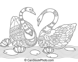 Swan coloring book for adults vector illustration....