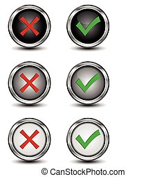 Check mark buttons - Vector illustration of check mark...