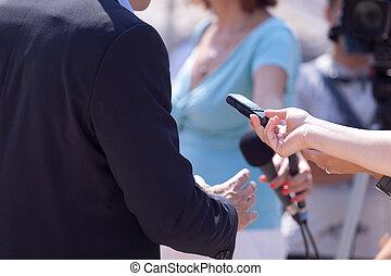 記者, 政治家, 新聞, 接見, 商人, 會議, 或者, 做