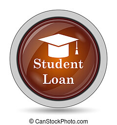 Student loan icon, orange website button on white...