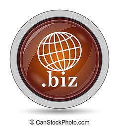 .biz icon, orange website button on white background.