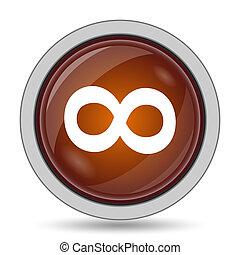 Infinity sign icon, orange website button on white...