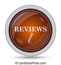 Reviews icon, orange website button on white background.
