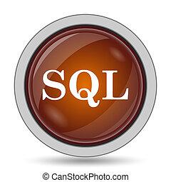 SQL icon, orange website button on white background.