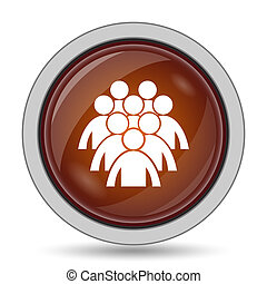 Group of people icon, orange website button on white...