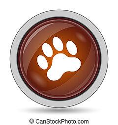Paw print icon, orange website button on white background.