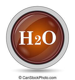 H2O icon, orange website button on white background.