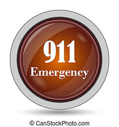 911 Emergency icon, orange website button on white...
