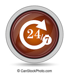 24/7 icon, orange website button on white background.