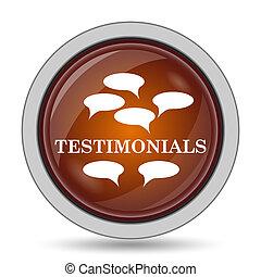 Testimonials icon, orange website button on white...