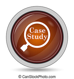 Case study icon, orange website button on white background.