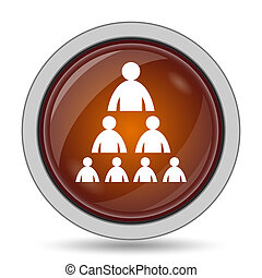 Organizational chart with people icon, orange website button...