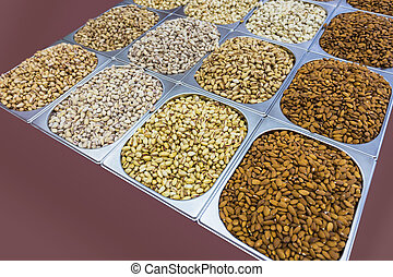 assortment of pistachios in the Arab market in souq at...