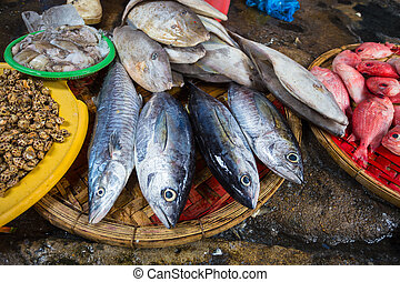 Sale of fish and seafood in market. Nha Trang, Vietnam