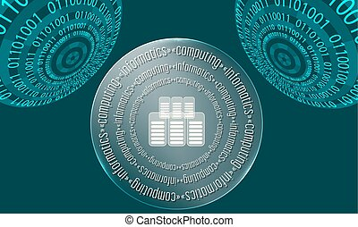 Three abstract circles with binary code and the words...