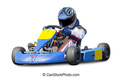 Isolated Go Kart Racer on White Background
