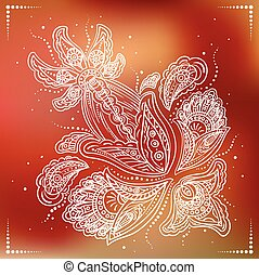 Delicate detailed flower on red background