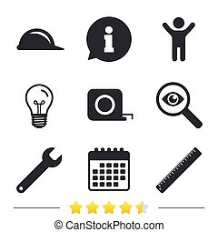 Construction helmet and ruler, roulette icons. -...